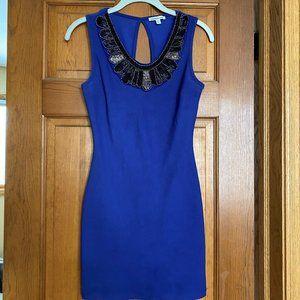 Blue Beaded Neck Bodycon Dress